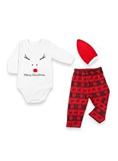 Vip Bebe Vipbebe Merry Christmas ve Geyik Baskılı Kadife Body, Yeni Yıl Tema Baskılı Pantolon ile Kırmızı şapkalı Bebek Seti